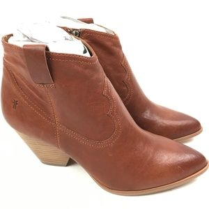 FRYE Reina Cognac Leather Western Ankle Bootie 9